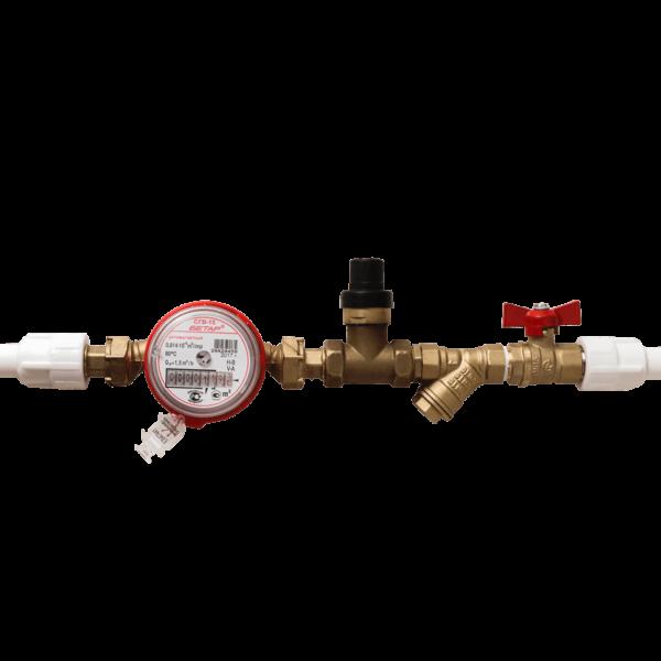 Установка комплекта №3 (счетчик, фильтр, кран и регулятор давления)